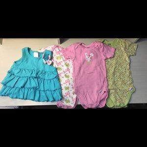 4 pc. 18 month onesie & shirt/dress